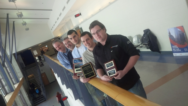 Mohawk Marketing students win gold at the Vanier College BDC Case Challenge for the third time. From front to back - students Alex Hurley, Scott Merwin and Mathew Brown and faculty Andrew McTear and Mark Valvasori.
