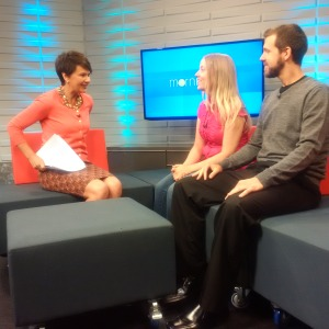Mohawk Alumni of Distinction recipient and CHCH TV host Annette Hamm talks with student Amanda McManus and grad Jeff Beilby about their fundraising walk for mental health