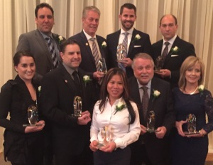 Congratulations to our newest Alumni of Distinction recipients.  Front row (left to right): Megan MacLeod, Brian Jonker, Vanh Kalong, the Hon. Ted McMeekin and Barbara Shea. Back row (left to right): Rocco Passero, Mayor Fred Eisenberger, Derek Doyle and Daniel Popowich