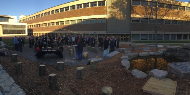 Pledging Mohawk College's commitment to the Indigenous Education Protocol at our new outdoor gathering space.