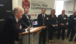 Mohawk's Digital Print Learning Centre will be named in honour of Hugh Cameron, recognizing his tremendous commitment to giving our students a great place to hone their skills.