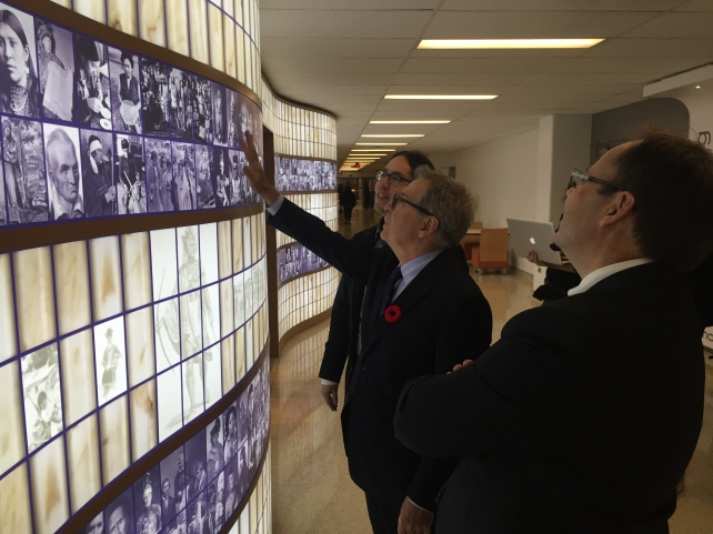 The Hon. David Zimmer, Ontario's Minister of Aboriginal Affairs, visited our floor-to-ceiling Wampum Wall outside the Aboriginal Student Centre.